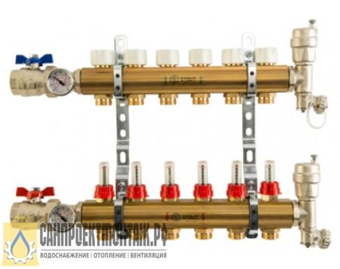 STOUT Распределительный коллектор из латуни с расходомерами 12 вых