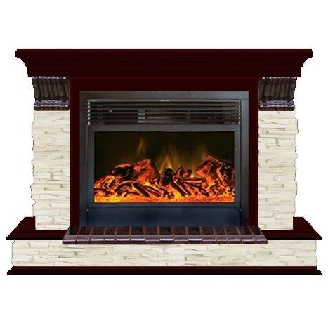 Электрокамин (очаг+портал): Glenrich Панорама 28 (New flame) камень-Мисхор/цвет-Красное дерево