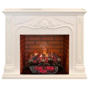 Электрокамин (очаг+портал): Real-Flame Victoria 26 WT с очагом 3D Silva log+Brick вставка 26