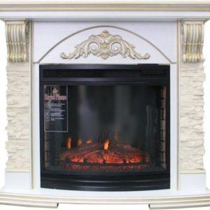 Электрокамин (очаг+портал): Royal Flame Rimini с очагом Dioramic 28 FX (Сл.кость с патиной)