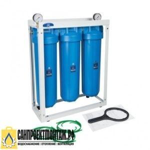 Магистральный фильтр для очистки воды: Гейзер 3И20BB (без картриджей) на раме