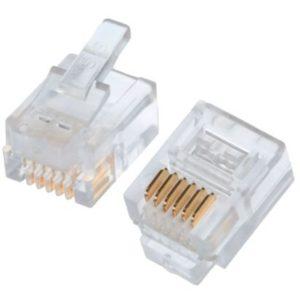 Коннекторы 6P6C (RJ-11) (100шт) (10-0228)        :Телефонный разъем 6P6C (RJ-11)