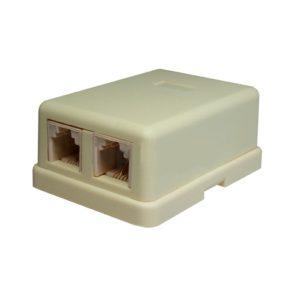 Розетка настенная RJ-11, 6P4C, 2 порта (10-0306)        :Телефонная розетка