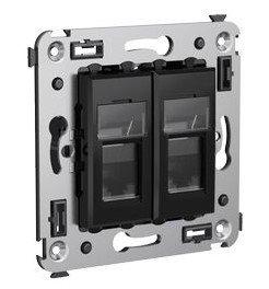 Розетка телефонная в стену Avanti двойная черный квадрат (4402314)        :Розетка