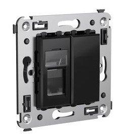 Розетка телефонная в стену Avanti одинарная черный квадрат (4402313)        :Розетка