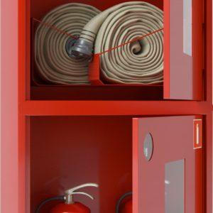 Ш-ПК-О-003НОК (ПК-320-12НОК) лев. :Шкаф пожарный навесной со стеклом красный