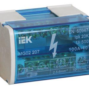 ШНК 2х7 L+PEN (YND10-2-07-100)        :Шина на DIN-рейку в корпусе (кросс-модуль)