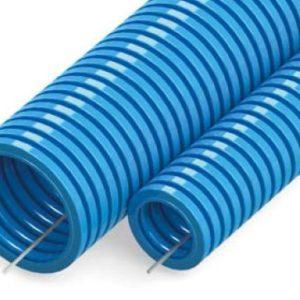 Труба ПП тяжёлая не распространяющая горение синяя с зондом D=25 (PR02.0081)        :Труба гофрированная
