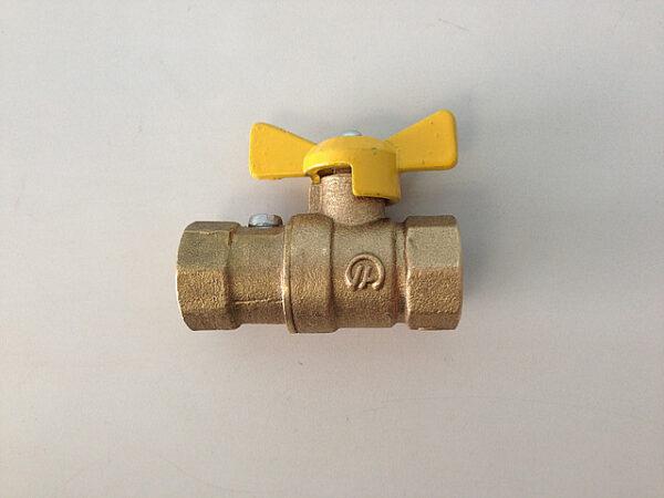 Кран трехходовой шаровый для газа 11б41п27 (G1/2-G1/2), Ду-15, Ру-1,6МПа