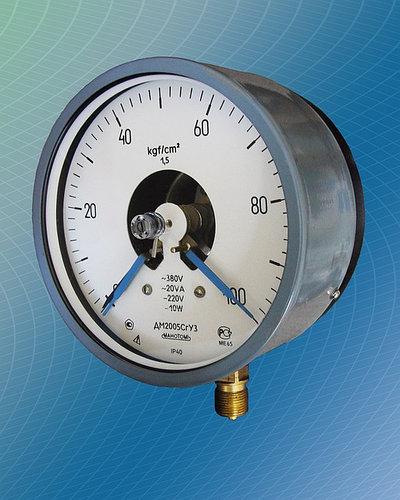 Манометр электроконтактный (сигнализирующий) ДМ2005Сг, ДВ2005Сг, ДА2005Сг (аналог ЭКМ-1У) -1-0-9, V левый контакт размыкающий (min), правый замыкающий (max) оба указателя синие