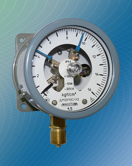 Манометр электроконтактный (сигнализирующий) ДМ2010Сг, ДВ2010Сг, ДА2010Сг -1-0-15, V левый контакт размыкающий (min), правый замыкающий (max) оба указателя синие