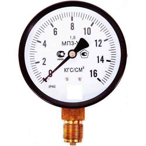 Манометр МП3-У. Корпус 100мм. (аналог ОБМ-100, МТП-100, М3/1, ДМ02, ТМ510, МТ-3И) -1-0-15