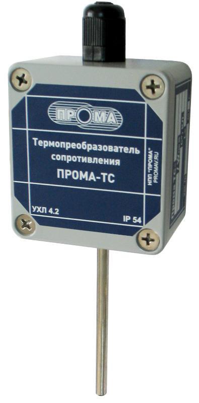 Преобразователь температуры ПРОМА-ПТ-200 (4-20мА), НПП ПРОМА ПТ-203Г (-50+400С) гладкая гильза 8мм, 100