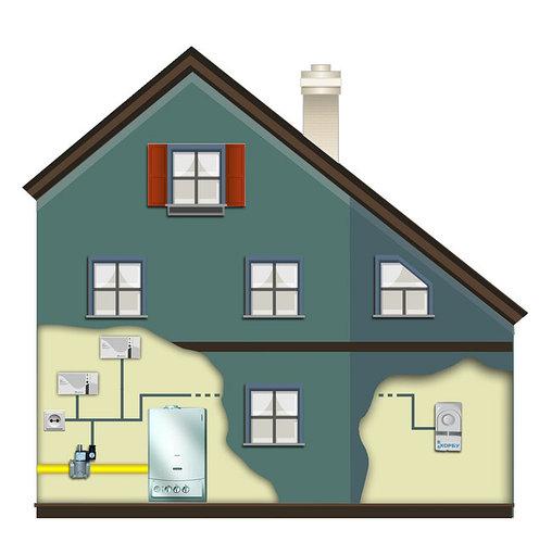 Схема установки сигнализатора загазованности для частного дома на бытовой и угарный газы (CH4+СО)